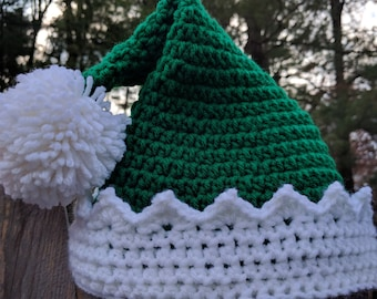 Crochet Green and White Elf Christmas Holiday Hat - All Sizes!