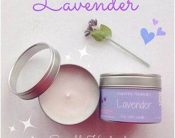 Lavender, scented candle, soy wax, Lavender, Ylang Ylang and Vanilla fragrance, container candle