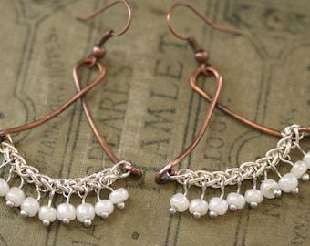 Mixed Metal Earrings, Copper Drop Earrings, Mixed Metals Earrings, Mixed Metals Dangle Earrings, Wire Earrings, Antique Dangle Earring #1355