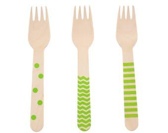 Forks, Utensils (Green 18 Ct Wooden Forks) -Stripe, Chevron & Dot Serving Fork, Party Supplies, 4 Prong Fork, Kitchen Gadgets, Dessert Forks