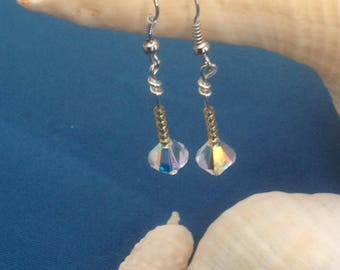 Swarovski crystal pieces and Japanese bead earrings