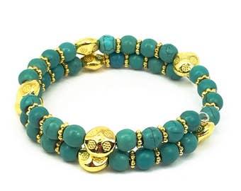 Turquoise memory Bracelet, Turquoise Bracelet, Cuff Bracelet, Turquoise jewelry, memory Jewelry, Boho Jewelry, Turquoise and gold