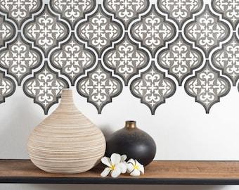 TEMARA 3-Layer Moroccan Furniture Floor Wall Tile Stencil - TE002