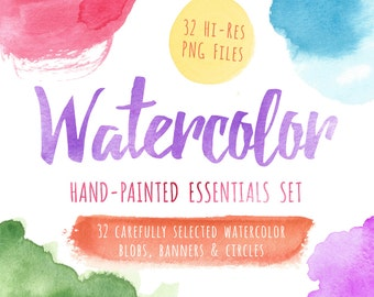 80% OFF SALE Watercolor Clipart, Watercolor Clip Art, Watercolor, Textures, Blobs, Banners, Circles, Printable, Commercial Use