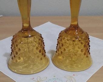 Lot of 2 Vintage Fenton Brown Hobnail Bells Mid-Century Classic