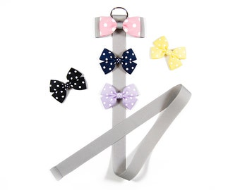 Silver and Pink Polka Dots Hair Bow Holder, Hair Bow Organizer, Bow Holder, Clip Holder