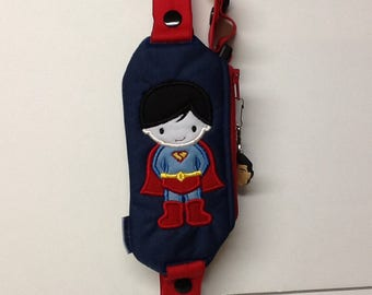 Insulin pump pouch / Embroidered  superboy