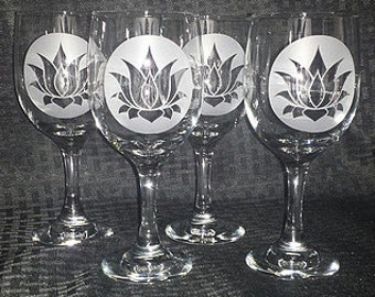 Lotus Etched Wine Glasses (Set of 4)
