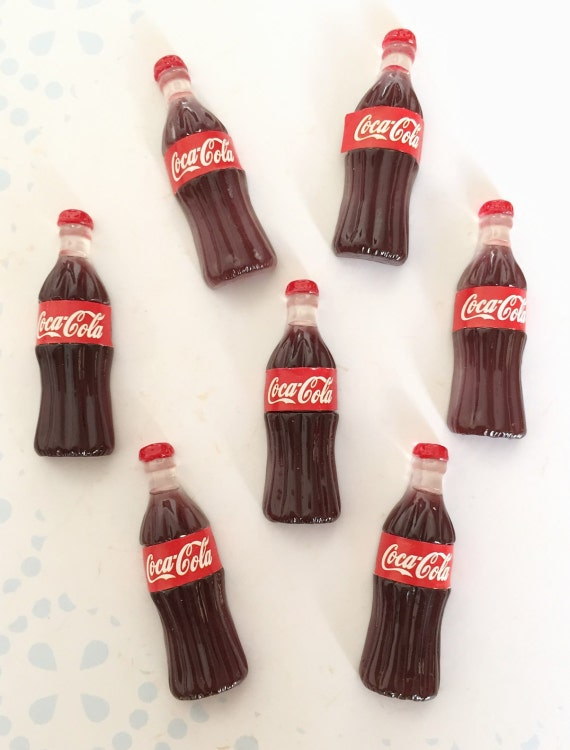 2pcs.10x31mm.Miniature Cabochon Coca Cola ,Miniature Coke,Cabochon,Resin,Miniature Sweet,Mobile Accessories,Miniature cola