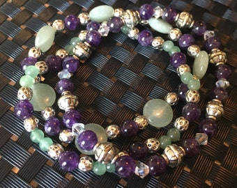 Bracelet Set: Amethyst & Aventurine
