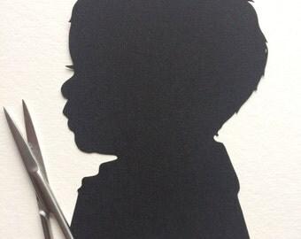 Custom Silhouettes Child Silhouette Portrait - 4 x 6 Art - Portrait Paper Cutout - Family Keepsake Gift for Mom