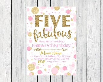 FIVE and Fabulous - 5th Birthday Pink & Gold Invite OR Change to any age***Digital File*** (Five-FabPolka)