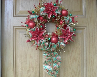 Red and Gold Winter Deco Mesh Wreath