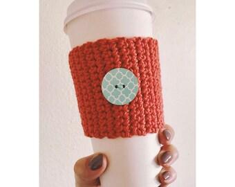 Orange Red Coffee Cozy // Wooden Button Coffee Cozy // Eco-Friendly // Reusable Coffee Cozy