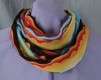 Infinity Scarf, Colorful Waves, Chiffon