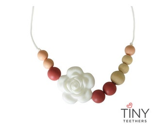 Silicone Teething Necklace | Kids Fidget Necklace | Sensory Necklace | Chew Necklace | Teething Beads | Chewlery | Maroon + Peach + Wood