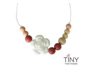 Silicone Teething Necklace | Kids Fidget Necklace | Sensory Necklace | Chew Necklace | Teething Beads | Chewlery | Maroon + Peach + Wood
