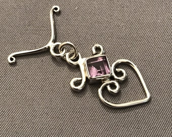 925 Sterling Silver Heart-Shape Toggle Clasp With Faceted Amethyst