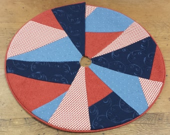 Mini Christmas Tree Skirt ~ Abstract Patriotic, Red, White & Blue ~ Small Tabletop, Custom Sizes Available
