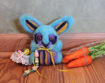 Sale! Wool felted Easter Bunny with Basket