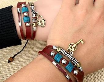 Couples Bracelet -  Heart Lock and Key Bracelet, Lovers Jewelry, Long Distance  CP-369