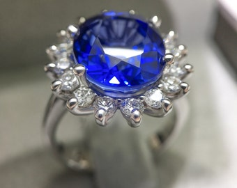 7 Carat Blue Sapphire Halo Diamond Engagement Ring - 14k White Gold, Gift For Her, Halo Diamond Ring FREE SHIPPING