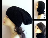 HALF PRICE sale -50% OFF Black Merino Hand Knit Multifunctional Hat Cowl Scarf Collar 3 in 1 merino wool slouchy chunky hat, cowl scarf, col