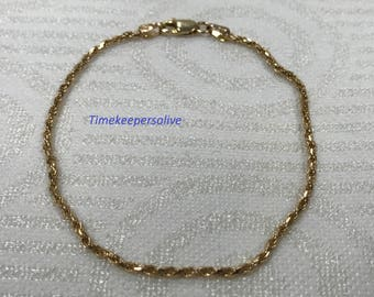 """Beautiful 14k Yellow Gold Twisted Spiral Links Chain 7"""" Long Bracelet Perfect Gift"""