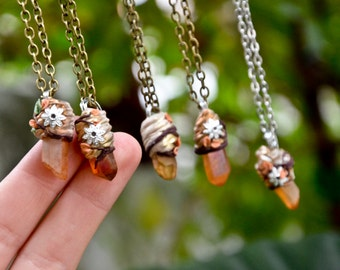 Citrine necklace AMULET pendant handmade nature protection amulet steel chain