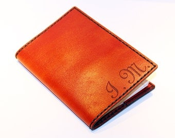 Personalized Passport Cover! Leather Passport Cover With Initials! Passport Holder! Leather Orange Passport Cover! Handmade Passport Cover!