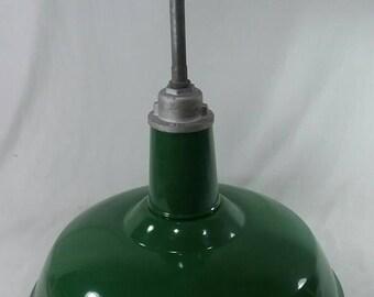 CLEAN Vintage hanging green porcelain enamel gas station light barn service station industrial shade