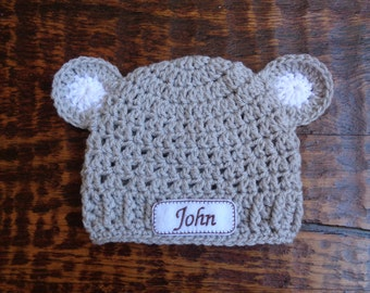 Crochet Personalized Newborn Baby Hat with Ears (0-3 months, light gray)