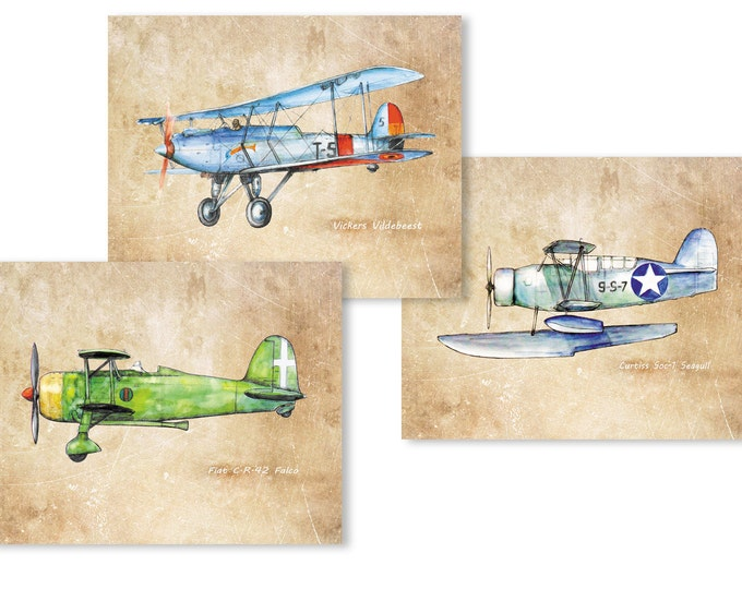 Airplane decor for boys nursery Vintage style aviation theme Airplanes print Set of THREE pics Playroom transportation art Gift fot pilot