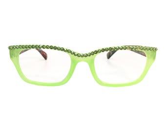 Tie Dye - Green (Swarovski Crystal Rhinestone Reader Glasses)
