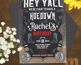 Hoedown Printable Birthday Invitation / Country Western theme, boots, dancing, barn party