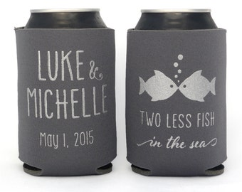 Two Less Fish in the Sea // Personalized Wedding Can Coolers