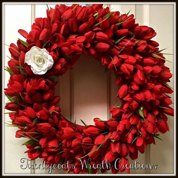 Valentines Wreath - Tulip Wreath - Spring Wreath - Floral wreath