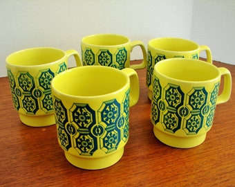 1960's Royal Alma Ironstone Staffordshire Mugs,Set of 5,Bright Yellow & Teal Glaze,Abstract Graphic Design,Made in England, Mid Century mugs
