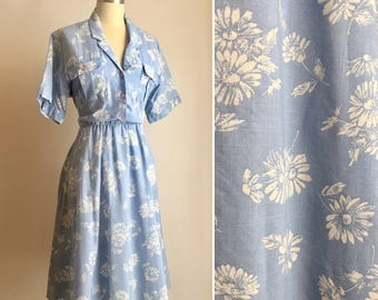 vintage cornflower blue floral dress M/L ~ 80s shirt waist dress