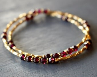 Garnet and gold wrap bracelet, boho chic multi wrap bracelet, gold and garnet beaded bracelet, garnet bracelet, stacking bracelet,