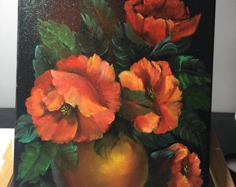 Oil Painting on canvas of Poppies in Vase