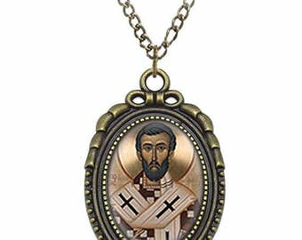 St Frumentius of Ethiopia Catholic Necklace Bronze Medal w Chain Oval Pendant Saint Vintage