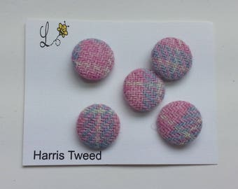Harris Tweed Covered Buttons Pink and Blue