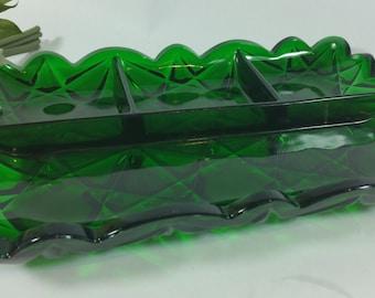 Vintage Emerald Green Divided Relish Tray, Irish, Pressed Glass
