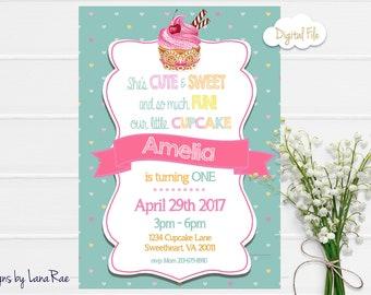 Cupcake Birthday Party Invitation, Cupcake party , Cupcake Invitation, Candy Birthday Party, Cupcake Birthday