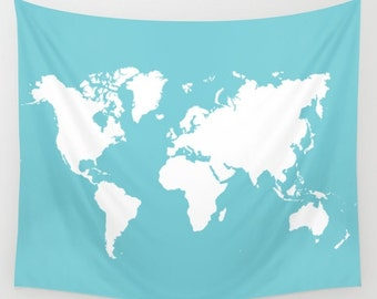 World Map Wall Tapestry / Blue and Cream Modern Map Printed Wall Tapestry / Aldari Home