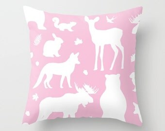 Woodland Animals Pillow Cover - Forest Animals Pillow Cover - Woodland Nursery Decor - Pink Pillow Cover - Girl Nursery Decor