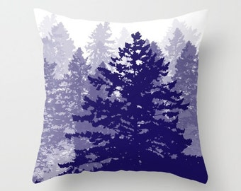 Pine Trees Pillow Cover / Tree Pillow Cover / Forest Pillow Cover / Woodland Pillow Cover / Blue Modern Home Decor / includes insert