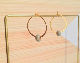 CERAMIC HAMMERED HOOPS - gold filled hoops - silver filled hoops - ceramic hoops - trendy and minimal earrings - handmade everyday earrings