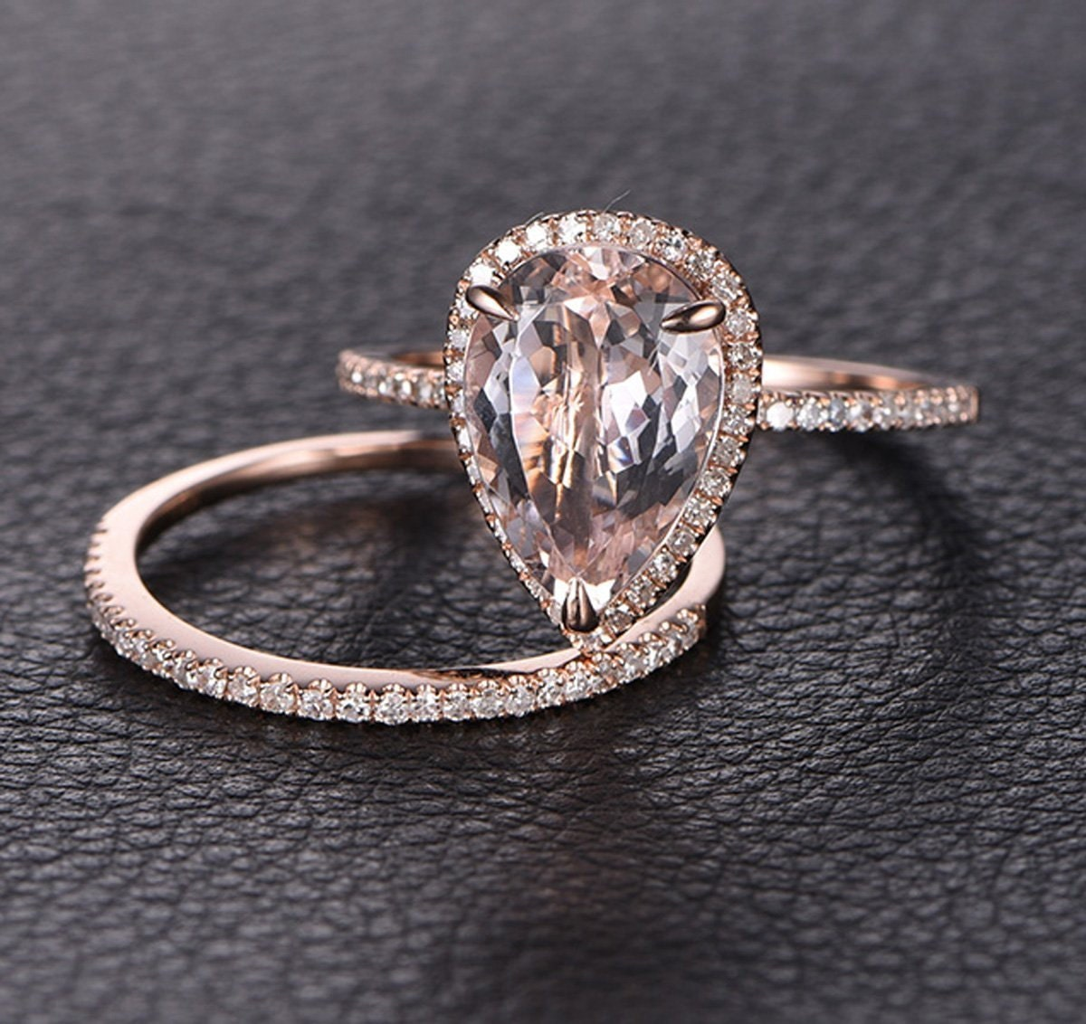 Perfect Bridal Set On Sale 1.50 Carat Pear Cut Morganite And